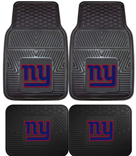 NFL New York Giants Car Floor Mats Heavy Duty 4-Piece Vinyl - Front and Rear
