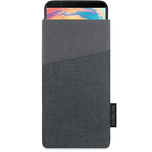 Adore June Tasche Clive für OnePlus 5T & OnePlus 6, Handyhülle mit Extrafach & Bildschirm-Reinigungseffekt, Schwarz/Grau