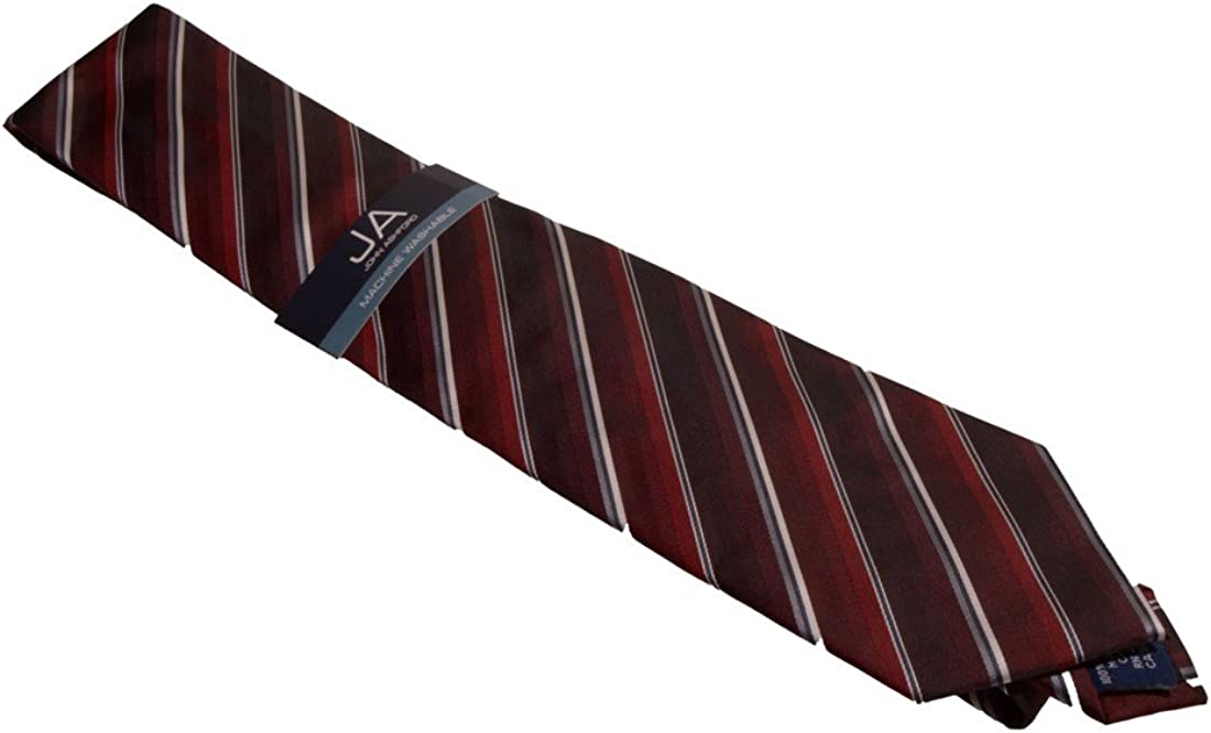 John Ashford Mens EDI Stripe Neck Tie, Red, One Size