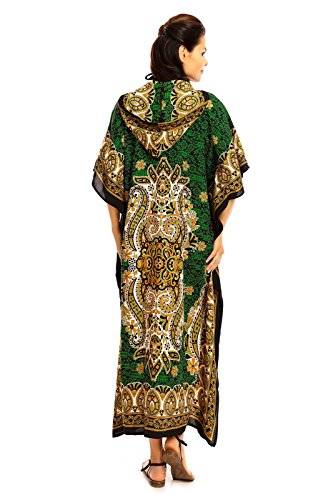 Looking Glam Damen voll Länge überdimensional Maxi Kimono Tunika mit Kapuze Kaftan Kleid- Gr. 38-44 (Etikettgröße: 27), Kastanienbraun - 30378