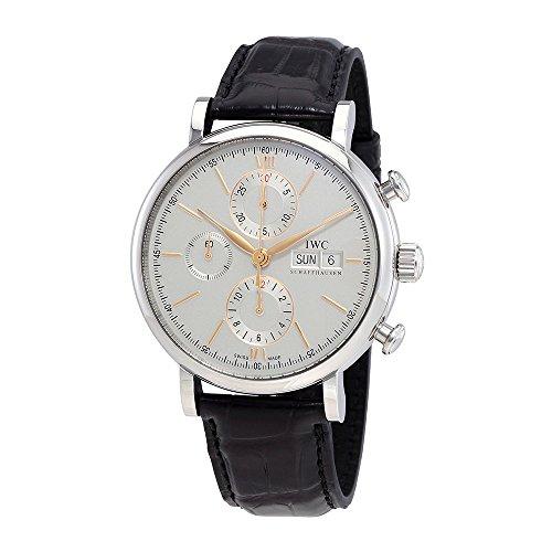 Iwc Portofino cronografo in acciaio INOX argentato quadrante orologio da uomo IW391022