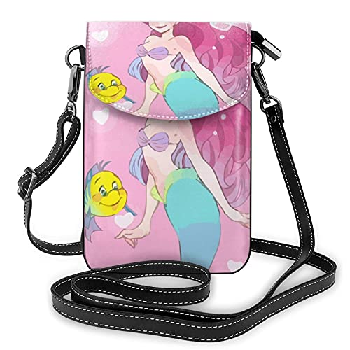 XCNGG Borsa piccola per cellulare Women's Small Crossbody Bag with Shoulder Strap,Ariel The Mermaid and The Flounder Small Cell Phone Purse Wallet with Credit Card Slots