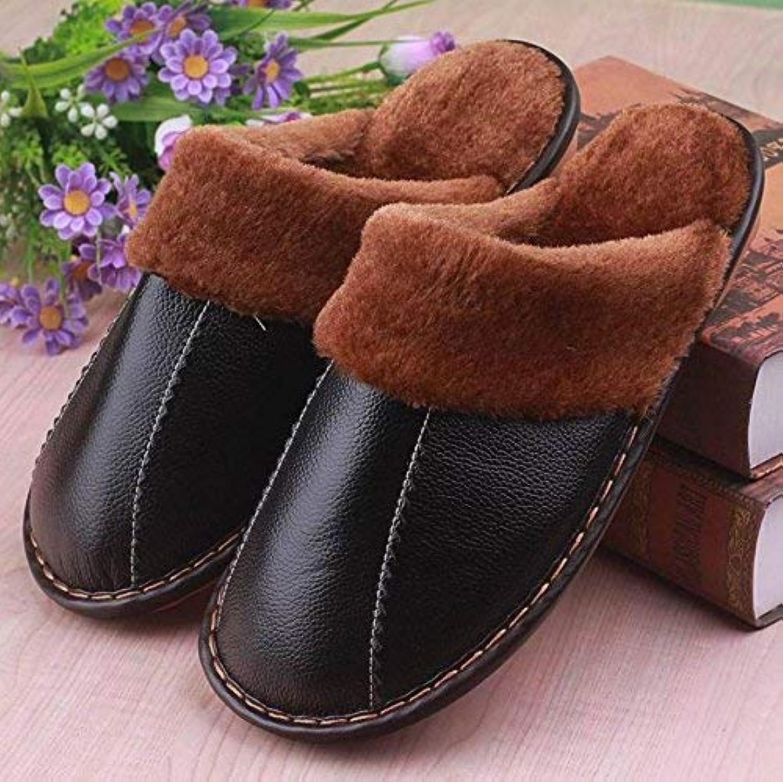 Men 's Home Slippers Indoor Keep Warm Leisure Artificial Leather Slippers Black Soild color Bedroom Medium