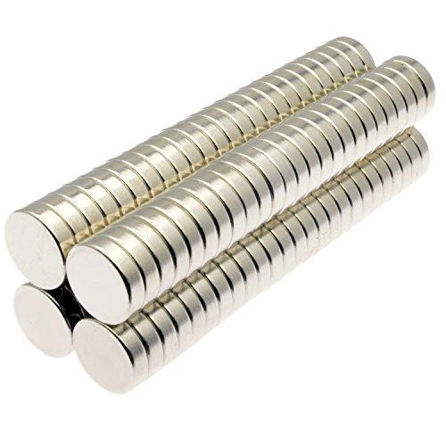 POWER MAGNET STORE Aimants en néodyme 13 x 3 mm, Argenté, 1/2\