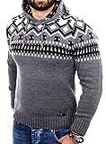 Reslad Norweger Pullover Herren Winterpullover Kapuzenpullover | Strickpullover für Männer RS-3013 (XL, Anthrazit)