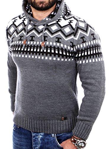 Reslad Norweger Pullover Herren Winterpullover Kapuzenpullover | Strickpullover für Männer RS-3013 (L, Anthrazit)