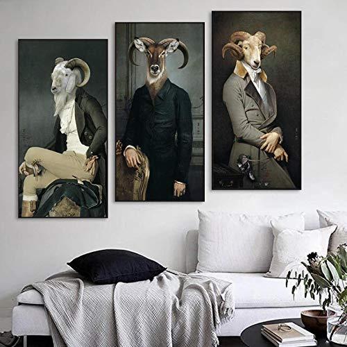 Domrx Conde de la Cabra Pintura de Animales creativos Impresión en Lienzo Postes e Impresiones de Arte Imágenes de Arte Retro nórdico Mural 30x60cm / 11.8'x23.6 x3 Sin Marco