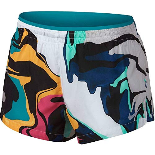 Nike Womens Elevate Printed Running Shorts White/Spirit Teal/Reflective SILV XL