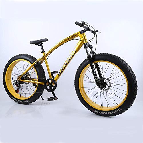 Mountain Bike 4.0 Grasso Pneumatico Bicicletta Doppio Freno a Disco Bicicletta da Spiaggia Bici da Neve Leggera in Acciaio ad Alto tenore di Carbonio Mountain Bike-Gold_27 velocità 24 Pollici_ Cina
