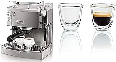 De'Longhi 15 bar Pump Espresso Maker, EC702, Metal & DeLonghi Double Walled Thermo Espresso Glasses, Set of 2, Regular, Clear