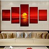 Wjbky Stampa Hd Quadri Modulari Cornice Su Tela 5 Pannelli Tramonto Rosso Sole Mare Paesaggio Naturale Pittura Decorazioni Per La Casa Vista Sul Mare Wall Art @ L