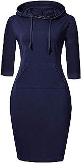 Melcom Cotton Navy Blue Hooded Sweatshirt Dress for Women