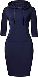 Melcom Cotton Navy Blue Hooded Sweatshirt Dress for Women