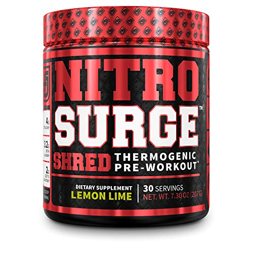 NITROSURGE Shred Pre Workout Supplement - Energy Booster, Instant Strength Gains, Sharp Focus, Powerful Pumps - Nitric Oxide Booster & PreWorkout Powder - 30Sv, Lemon Lime