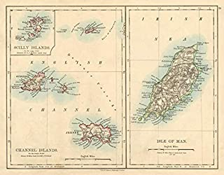 British Islands Isle of Man Channel Islands Jersey Guernsey Johnston - 1892 - Old map - Antique map - Vintage map - Printed maps of UK