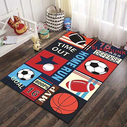 Kinderteppich Jungen Fußball Basketball Golf Teppich Kinderzimmer Jugendzimmer Babyteppich,Sports,140cmx200cm