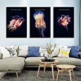 ZGZART Carteles de Medusas de Estilo nórdico de Lujo Fondo Negro Pintura de Lienzo Decoración de Acuario e imágenes de Pared para Sala de Estar -40x60cmx3 (Sin Marco)