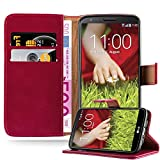 Cadorabo Funda Libro para LG G2 en Rojo Burdeos - Cubierta Proteccíon con Cierre Magnético, Tarjetero y Función de Suporte - Etui Case Cover Carcasa