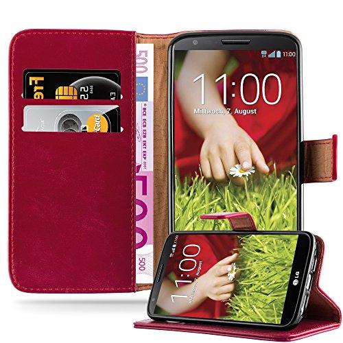 Cadorabo Custodia Libro per LG G2 in ROSSO VINACCIA - con Vani di Carte, Funzione Stand e Chiusura Magnetica - Portafoglio Cover Case Wallet Book Etui Protezione