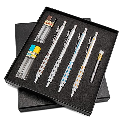 Pentel Arts GraphGear 1000 Premium Gift Set with Refill Leads & Erasers (PG1000BXSET) , Black , 0.3mm, 0.5mm, 0.7mm, 0.9mm