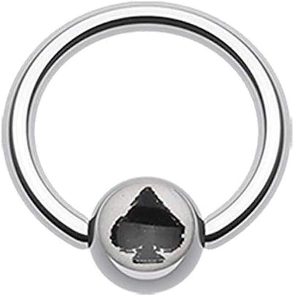 Covet Jewelry Lucky Spade Logo Ball Captive Bead Ring