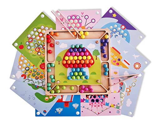 Juguete de Madera Educativo para NiñOs, Tablero Montessori 3 años, Juego Cuentas Clip Montessori, Aprendizaje, motricidad Fina Montessori, Rompecabezas, Puzzle Madera, Entrenamiento