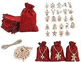 HIQE-FL 24 Piezas Bricolaje Calendario Adviento,Bolsa de Calendario de Adviento,Calendario de Adviento,Cuenta Atrás para Navidad Decoración de Casa de 24 días