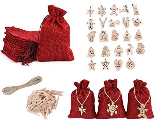 HIQE-FL 24 Adventskalender zum Befüllen,Stoffbeutel Weihnachtskalender,Weihnachten Geschenksäckchen mit 10m Jute Hanfseile für Geburtstag Weihnachten Kinderparty