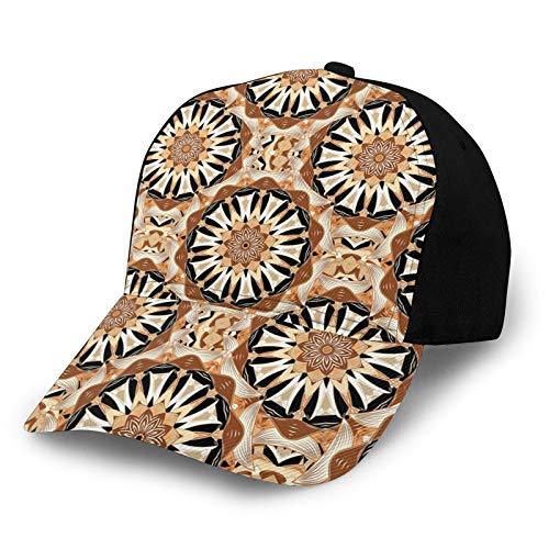 Gorra de béisbol unisex con borde curvado, estilo oriental, con elementos tradicionales, inspirado en mandala y estampado floral de tela cruzada de poliéster