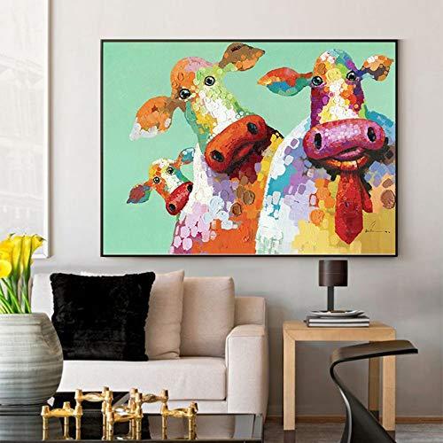 SUMIANYH 100% handgeschilderd olieverfschilderij woonkamer sofa achtergrond muur decoratie schilderij dier koe slaapkamer gang handgeschilderd olieverfschilderij kinderkamer schilderij handgemaakt simpel Europees 60×90cm
