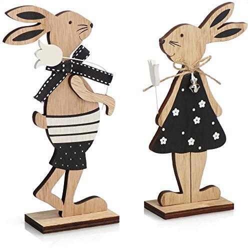 com-four® 2X Deko Aufsteller für Ostern - Osterhasen-Paar mit Blume - Zwei Osterhasen zum Hinstellen - Osterdekoration aus Holz (Set01 - Hasen mit Blume)