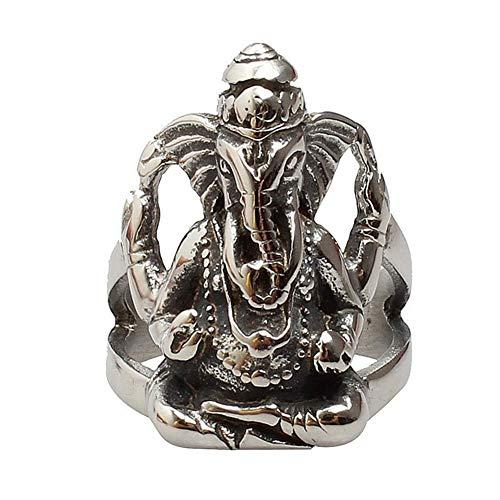 NA Stainless Steel Large Hindu Elephant God Ring Men, Punk Biker Silver Style Size 7-12