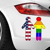 10Cmx10.9Cm Autocollants De Voiture Gay Mariage Pictogramme Usa & Drapeau Arc-En-Ciel Autocollant Drôle Autocollant De Voiture