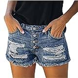 Junjie Pantalones Vaqueros Rotos para Mujer Pantalón Cortos Mujer con Bolsillos Shorts de Abotonado Moda Pantalones Cortos Mujer Vaqueros Ideal para Oficina,Trabajo,Entrevista