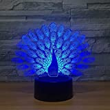 OUUED Peacock Spread Tail Peacock 3D Night Light Vision Stereo LED 3D Illusion Lámpara de mesa 7 Lámpara que cambia de color Boy Kid Gifts, Lovely Gift Regalo de cumpleaños