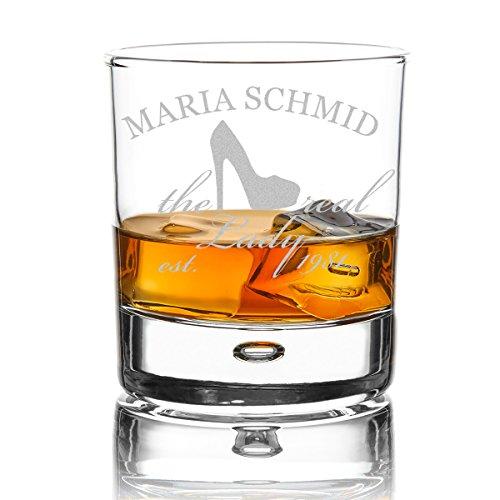 polar-effekt Whiskyglas Personalisiert 330 ml - Geschenk-Idee für Frauen - Tumbler Whiskeyglas mit Gravur Name und Jahreszahl mit Motiv Real Lady