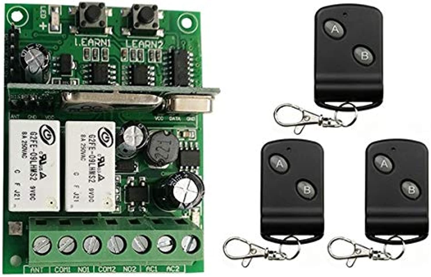 Individual Learning Code DC9V 12V 24V 10A 2CH Remote Control Switch Power Wireless Relay Receiver +Transmitter Light shutters  (color  C, Size  433)