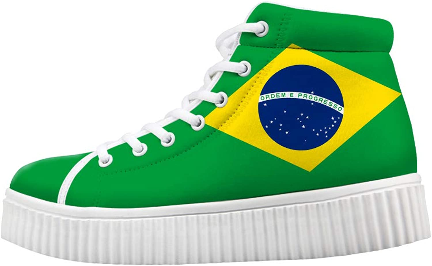 Owaheson Platform Lace up Sneaker Casual Chunky Walking shoes High Top Women Brazil Flag