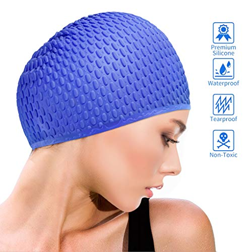 Idefair Gorros de natación - Gorro de natación de silicona Sombreros de natación Gorro de baño impermeable antideslizante para mujeres y hombres de cabello largo