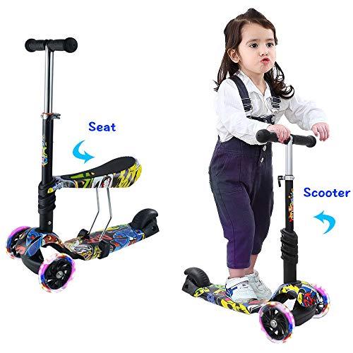 Arkmiido Kinder Roller Scooter 2 in 1 mit Abnehmbarem verstellbarem Sitz, LED große Räder, Höheverstellbare...