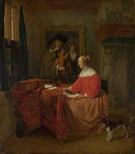 Gabriel Metsu Een vrouw zittend aan een tafel en een man afstemmen van een viool A3 doos Canvas Print