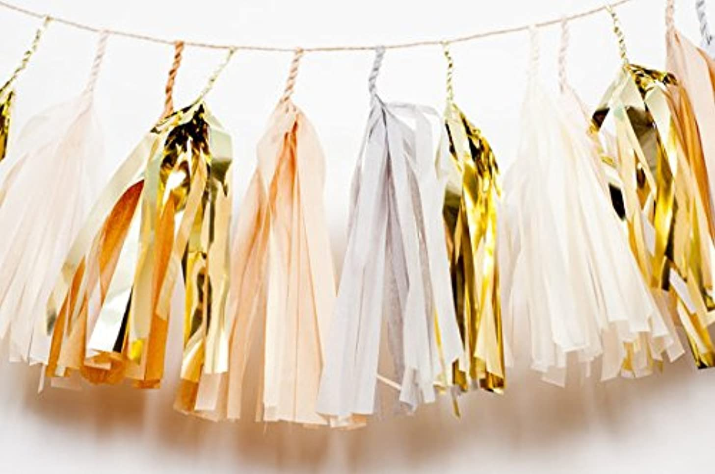 16 x Design TISSUE PAPER TASSELS for Party Wedding gold Garland Bunting Pom Pom