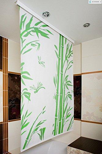 KS Handel 24 HALB-Kassetten DUSCHROLLO 4 Breiten 9 Designs ZUR Wahl DUSCHVORHANG Weiss GRAU GRÜN BLAU (160 x 190 Bambus)