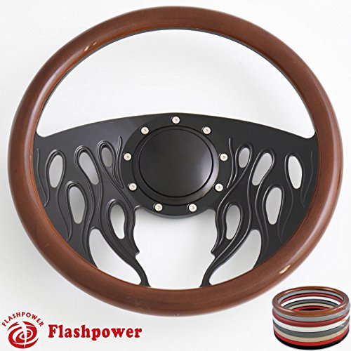 Flashpower 14'' Flames Billet Full Wrap 9 Bolts Steering Wheel with 2'' Dish and Horn Button (Walnut Wood)