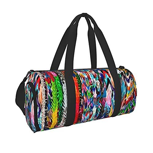 Origami Multicolor Papercraft Cranes Sports Gym Bag con bolsillo húmedo y compartimento para zapatos, bolsa de viaje para hombres y mujeres, Black, Talla única,