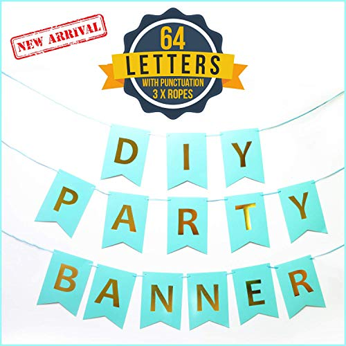 Damka DIY Party Banner Letter Set w/Punctuation (64-Piece Kit) Reusable, Gold and Turquoise Lettering | Custom Signs for Birthday Parties, Wedding, Bachelorette, Halloween, Events
