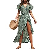 WAEKQIANG Summer Beach Maxi Dress Donna Stampa Floreale Boho Abito Lungo in Chiffon Ruffles Wrap Casual Scollo A V Abito da Festa Sexy