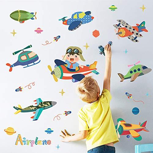 Cartoon Kleine Vliegtuig Muurstickers Kinderkamer Kleuterschool Plezier Layout Decoratie Stickers Verwijderbare Muurstickers Zelfklevend