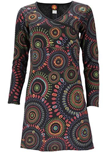 Guru-Shop, Hippie Mini-jurkje Boho Chique, Tuniek met Lange Mouwen Mandala, Zwart/citroen, Size:M (12), Korte Jurken