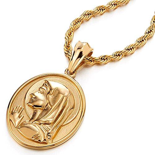 COOLSTEELANDBEYOND Color Oro Medalla Milagrosa Virgen María Marry, Collar con Colgante Hombre Mujer, Acero Inoxidable, Cadena Cuerda 75CM